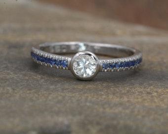White and Blue Sapphire Platinum Alternative Engagement Ring - Sapphire Platinum Ring - White Sapphire Bezel Ring - Sapphire Ring