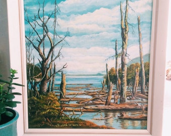 SUMMER SALE // Vintage Acrylic Painting Of Comox Lake, British Columbia 1971