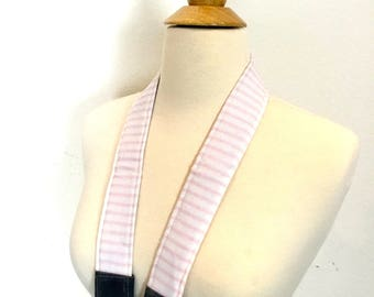 Camera Strap Pink and white stripe ticking,  neoprene padded for comfort, Darby Mack / dslr gear /  photography equipment / Wax Canvas