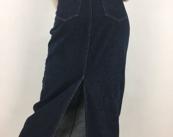 90s Jean maxi skirt, 1990s Contrast Jean maxi skirt