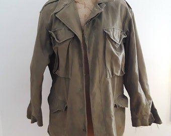 Vintage 1940's WWII US Army Green Field Jacket Sz 38 Small Med Military