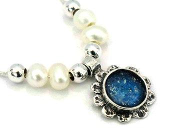 Roman Glass Delicate Flower Pendant, Blue Roman Glass Pendant, Retro Silver Flower Pendant, Freshwater Pearl, Unique Roman Glass Jewelry
