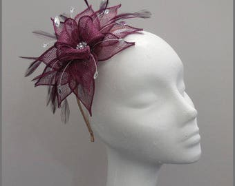 Burgundy headpiece, red wine claret sinamay fascinator, bridesmaid, wedding headband, made to order, formal event, feather, diamanté