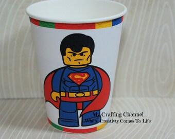 Lego Superman Birthday Party Cups,Superman,Party Birthday Cups,Party,Birthday,Cups
