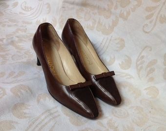 70s Brown Pointy Heels Pumps w/ Bow US 6 EU 36 37 UK 4