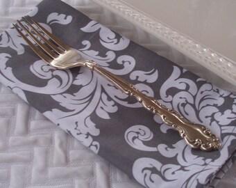 Dinner Napkins, Elegant Damask Patterned Napkins, Grey and White Napkins, Cloth Napkins, Gray Fabric Napkins, Set of 4 Four Napkins