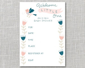 Baby Shower Invitation Pink & Navy Printable Instant Download PDF