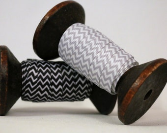 5 metres Chevron Print Grosgrain Ribbon on Wooden Spool  - Black or Grey - 10mm wide