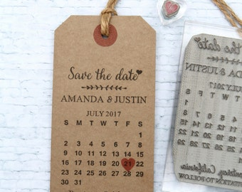 Save the Date Calendar. UK rubber stamp. Wedding invitation.  Custom. Personalised. DIY luggage tag.