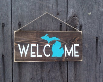 Rustic Welcome State Sign Michigan