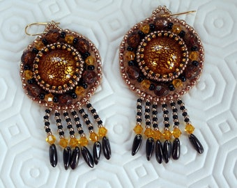 Earrings beadwork earrings embroidered black and gold, yellow