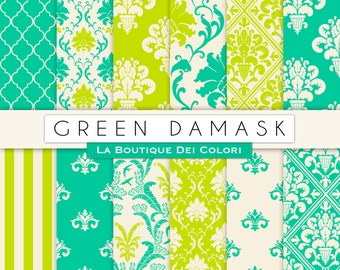 Cute Green damask digital paper. Green digital paper pack of damask Green backgrounds St. Patrick's Day commercial use clipart