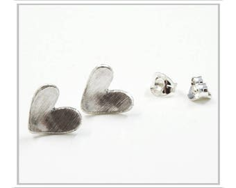 Domed Heart Studs - Sterling Silver