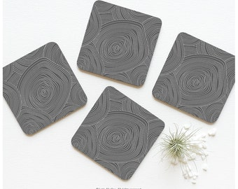 Coasters Gray Coaster Set of 4 Gray Contour Mapping Coasters Abstract Gray Geometric Print Coaster Set Tabletop Modern Coasters 05.