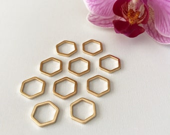 Luxe large hexagon stitch markers - gold (set of 10)