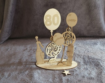 Happy 80th Birthday Celebration Card - Wooden 3D Popup Cards - Unique Gift wooden pop up card