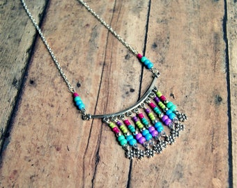 colorful bib necklace, boho jewelry, colorful jewelry, gift for her, seed bead necklace, rainbow jewelry