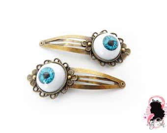 Antique Bronze and Blue Eyeball Hair Clips, Evil Eye Hair Clips, Doll Eye Hair Clips, Blue Evil Eye Hair Clips, Bronze Eyeball Hair Clips