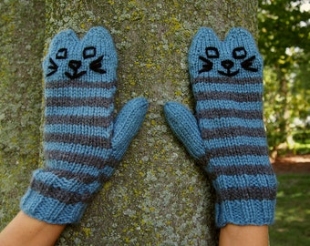 Blue Knit Cat Mittens Blue and Grey Striped Knitted Mittens - Vegan Animal Mittens - Knit Animal Mittens - Blue Cat Mittens - Kitten Mittens