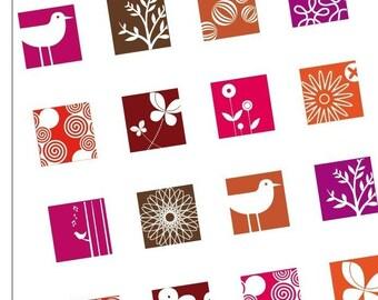 FUNKED ELEMENTS - ROUGE -Scrabble tile images - BUY 2 Get 1 FREE- digital sheets