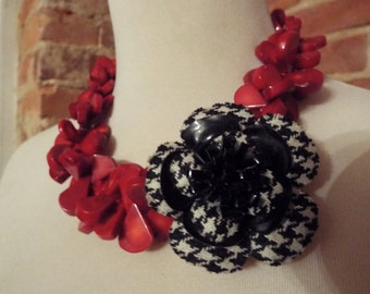 Red Coral Statement Necklace with Houndstooth Flower Brooch