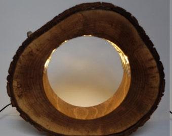 Wooden Walnut Lamp - hollowed log style - log lamp