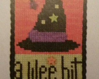 Set of 2 Cross Stitch Halloween Ornament Patterns/A Wee Bit Witches Hat Spells