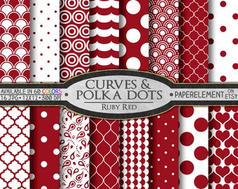 Ruby Red Polka Dot Digital Paper: Red Geometric Background, Red Digital Background, White and Red Patterns Digital Scrapbook Pages
