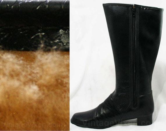 Dears Deadstock Early Buckle Rain Lined Black Authentic 1960s Faux 5 Boots 43246 Vinyl Waterproof Winter Size 60s Fleece 6 qZgAwH4
