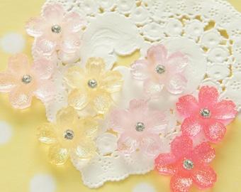 8 pcs  Clear Glitter Sakura/Cherryblossom Cabochon  (22mm) FL424