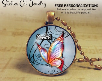"Create! Butterfly Necklace - 1-1/4"" Circle Pendant or Key Ring - Handmade Wearable Photo Art Jewelry - Nature water color art - Gift for her"
