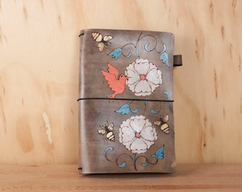 Hobonichi Cover - Leather Travelers Notebook for Midori or Moleskine - A5, A6, A4, B5, B6 --  with Hummingbird, Flowers and Bees