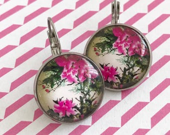 Pink Flower Earrings, Flower Earrings, Pink Earrings, Pink, Flower, Earrings, Dangle Earrings, Silver Earrings, Cherry Blossom, Floral, Gift