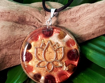 JOY & VITALITY Orgone Pendant – Carnelian, Garnet, Tiger's Eye - Increase joy, motivation, energy levels and positivity - Large