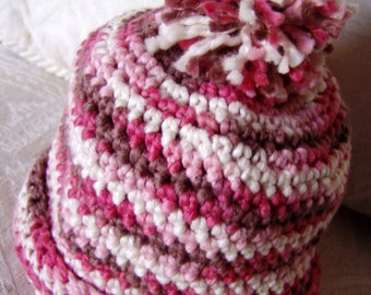 Crochet Hat - for 9 to 18 month Infant - Pink - Cream and Brown