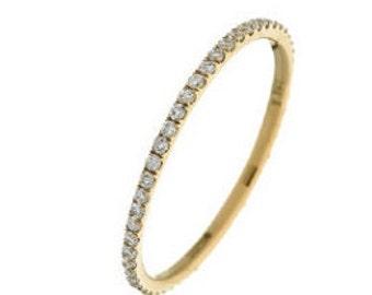 Full Eternity Diamond Ring 0.30ct 18K Yellow Gold 1.3mm