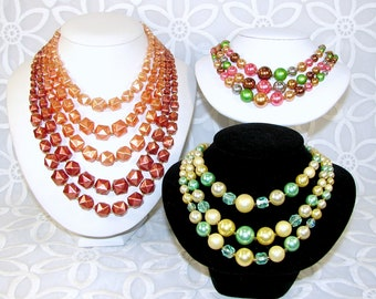 Lot Vintage 3 & 5 Multi Strand Beaded Necklace Ready 2 Wear Green Pink Bronze Brown Cream Halloween Costume Jewelry Stage Theater Dress Up