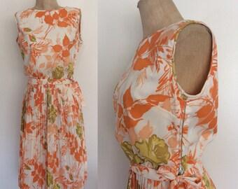 1950's Orange Floral Acetate Top & Skirt Set Pin Up Retro Blouse Size XS by Maeberry Vintage