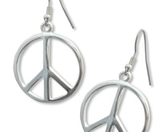Peace Sign Earrings Silver Finish Pewter #720