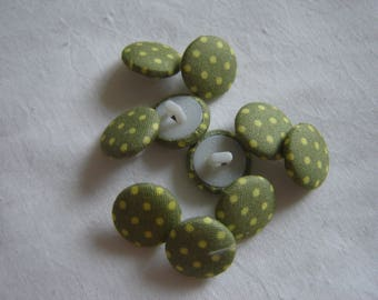 10 fabric buttons, Green / / 15 mm