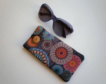 Glasses case, sunglasses case, eyeglasses case, Mandala, Case for sunglasses, Quilted eyeglass case, Mandala glasses case