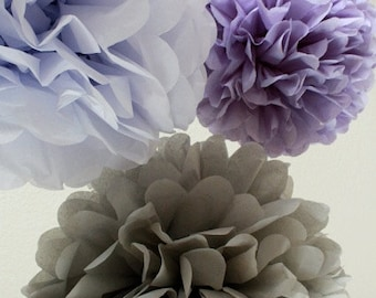 10 Tissue Paper Pom Poms - Your Color Choice- SALE - Purple Party Decorations - Tea Party - Birthday - Shower - Wedding