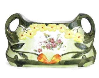 Vintage Succulent Planter. Art Nouveau Jardiniere. Small Plant Ceramic holder. Small Porcelain Indoor Planter Pot.