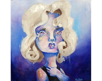 Starchild - original lowbrow oil painting by ela steel - oil on wood sad depressed - blue purple square