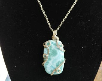 Sterling Silver Wire Wrapped Larimar Pendant