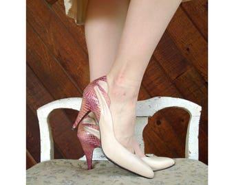 Nude Leather and  Pink Snakeskin Heels - Vintage 80s - 7