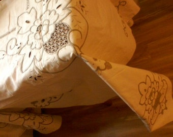 """Ecru Beige Tablecloth Vintage Embroidered Cutouts Unused 72"""" by 108""""  Cotton"""