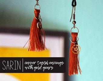 Sarin | copper tassel earrings with gold gears, steampunk dangles