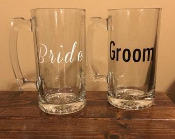 Bride & Groom Beer Mug Set, Wedding Day Mugs, Decorated Beer Mugs, Vinyl Beer Mugs, Newlywed Gift, Engagement Gift, Wedding Gift, Mug Set