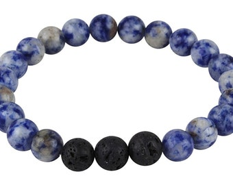 Mana Vibes Designed Lava Rock and Blue Sodalite Essential Oil Bracelet, Essential Oil Jewelry
